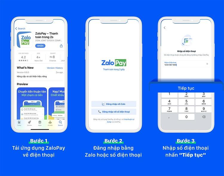 Cài đặt dịch vụ chuyển tiền qua app ZaloPayvề điện thoại