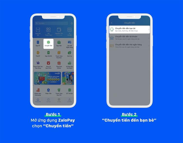 Cách chuyển tiền ví từ điện thoại này sang điện thoại khác trong ZaloPay