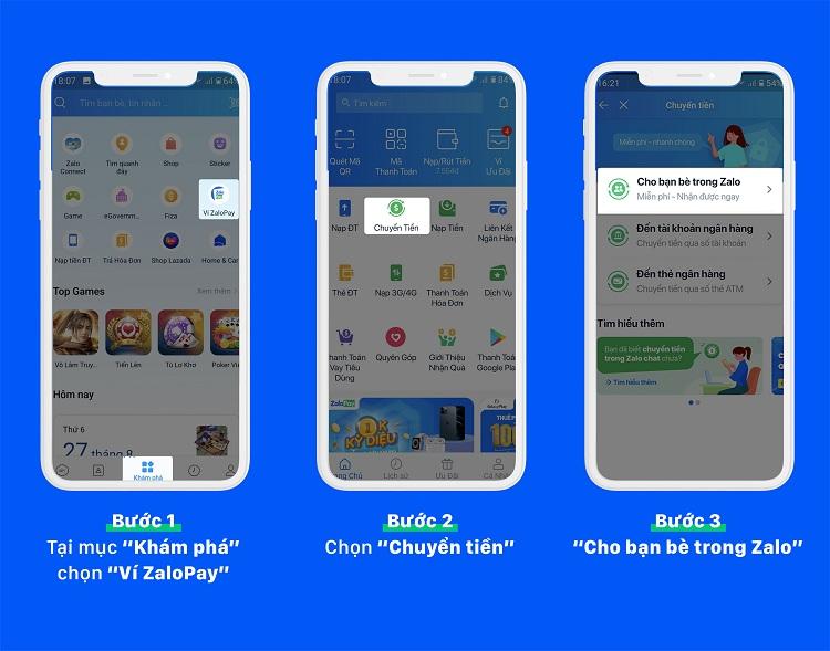Chuyển tiền đến số điện thoại/danh bạ trong app Zalo