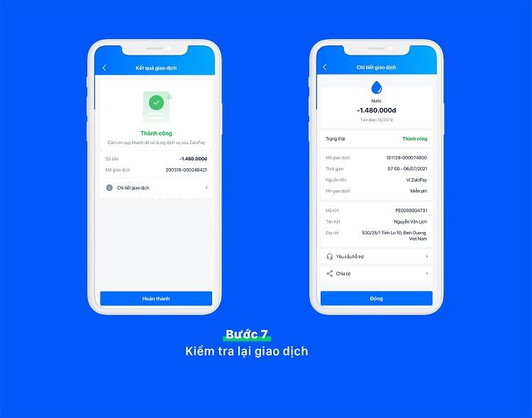 Cách thanh toán tiền nước online trong Zalo